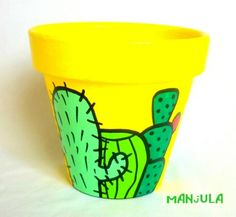 Ofelia - Macetas by Manjula Flower Pot Art, Flower Pot Design, Flower Pot Crafts, Clay Pot Crafts, Painted Clay Pots, Painted Flower Pots, Hand Painted, Pot Jardin, Pottery Painting