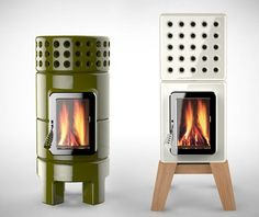 Stack Stoves - A classic yet contemporary Italian design, the Stack Stoves by Adriano are the ultimate in home heating. Seamlessly blending functionality with gorgeous aesthetics, these ceramic forged stoves, available in a range of finishes and colors and in round or rectangular styles, are as mesmeric as the flames that tickle their insides. (I bet this would cost a MINT)
