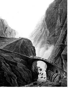 A 'terrifying alpine scene: the Devil's Bridge on the St Gotthard Pass. As the eighteenth century progressed, the emotions aroused by the passage of the Alps changed from fear to excitement.