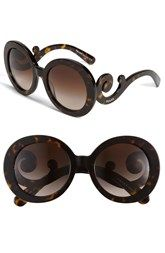 Prada 'Baroque' 55mm Round Sunglasses