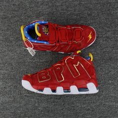 official photos 61b2e 79a2a Authentic Men Nike Air More Uptempo BPM Red Gold White Shoes AAA Nike  Swoosh Logo,