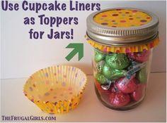 Cute Cupcake Liners as Jar Toppers!
