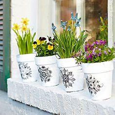Next year! Terra-Cotta Pot Pennsylvania Dutch like Embellishments ~ bhg.com