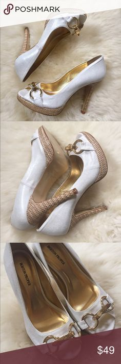 """Sergio Zelcer White Leather Peep Toe Pumps White leather peep toe pumps with gold buckle accents - hand made in Brazil by Sergio Zelcer for Boston Proper. In new condition. No box. 4.5"""" Heel, 0.5"""" Platform. Boston Proper Shoes Heels"""