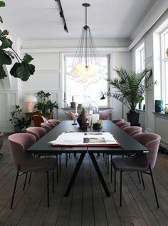 pink velvet chairs + black table + hanging exposed bulbs + plants
