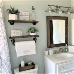mirror shelves toilet paper box farmhouse bathroom decor ideas olathe custom furniture store - Tidy up your toiletries with this floating shelf and towel bar set. The sturdy bathroom floating shelves provide storage in a rustic, yet cozy, farmho. Wooden Wall Shelves, Wood Floating Shelves, Mirror Shelves, Wall Wood, Floating Shelf Decor, Floating Cabinets, Rustic Shelves, Wall Cabinets, Small Shelves