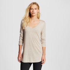 Women's Long Sleeve V-Neck Tee Light Brown S - Mossimo