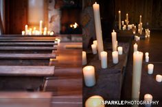 Wooden Benches (rental) and Ceremony Decor by Artisan Bloom - Screening Room Ceremony