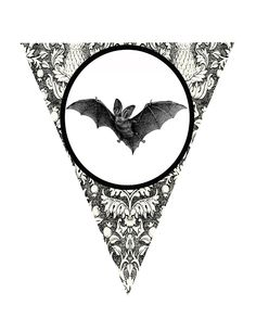 FREE Halloween Bat Pennant printable.  Perfect for a party or a spooky Halloween mantle!