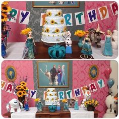 Frozen fever table with sunflower cake and Happy Birthday banner