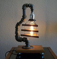 Industrial Art Table Desk Lamp on Steel Wheels one by Splinterwerx