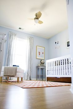 """And here it is...in pictures   view from the hallway    with a glimpse of my """"whale art"""" (idea via Pinterest, shock)     the crib set-up (no..."""