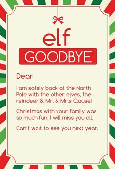 ON SALE Magic Elf Goodbye Note by CleverPrintables on Etsy – elf on the shelf ideas for boys Elf On Shelf Letter, Elf Letters, Elf On Shelf Names, Goodbye Note, Elf Goodbye Letter, Elf Auf Dem Regal, Awesome Elf On The Shelf Ideas, Elf Ideas Easy, Elf Magic