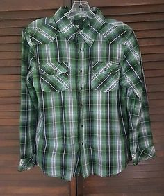 Boys Current Green Multicolor Plaid Long Sleeve Shirt Size Large