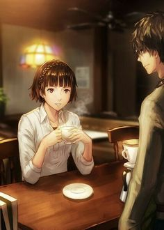 Protag makes Makoto a cup of joe :3
