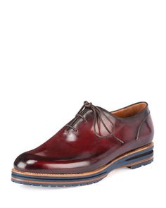 Alessio Lace-Up Oxford Shoe, Burgundy by Berluti at Bergdorf Goodman.