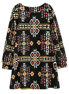 Black Long Sleeve Geometric Tribal Pattern Print Dress EUR€24.89