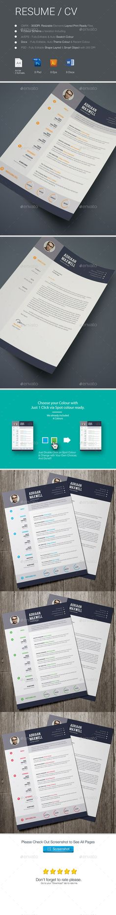 2 Pages #Resume / CV - Resumes Stationery Download Here: https://graphicriver.net/item/2-pages-resume-cv/12694875?ref=suz_562geid