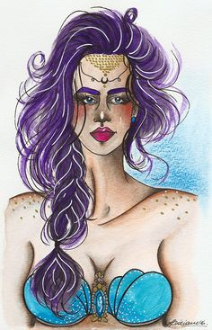 Lidiane Dutra | Ilustração #mermay #mermaid #mermaidhair #illustration #drawing #watercolor #painting #portrait #art #fantasyart