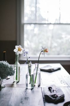 Delicate spring flowers on the kitchen table