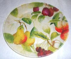 LUSCIOUS FRUIT Decorative Decoupage Glass by CraftyCatPlates