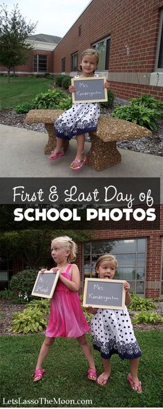 """{Photo Tradition} This fall many of us took photos of our little ones heading off for their first day of school. We did an adorable chalkboard with the girls' teacher's name and their grade. As we come to the end of the school year don't forget to take a """"last day of school"""" shot too! Can you believe how quickly the year flew past?!?"""