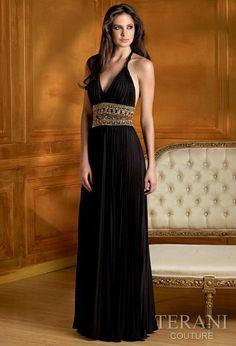 Traje de fiesta plisado en negro, estilo greco-romano.