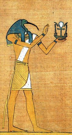 Thoth - was considered one of the more important deities of the Egyptian pantheon. In art, he was often depicted as a man with the head of an ibis or a baboon, animals sacred to him. As in the main picture, Thoth is almost always shown holding a Was (a wand or rod symbolizing power) in one hand and an Ankh (the key of the Nile symbolizing life) in the other hand. His feminine counterpart was Seshat, and his wife was Ma'at.