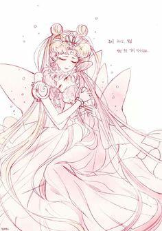 Sailor Moon and Mini Moon Arte Sailor Moon, Sailor Moon Fan Art, Sailor Moon Character, Sailor Moon Manga, Sailor Jupiter, Sailor Venus, Sailor Mars, Neo Queen Serenity, Princess Serenity