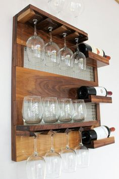 SHOP ANNOUNCEMENT Dave and I are in great need of a vacation because of the awesome response to our products, from our amazing custome… Wood Wine Racks, Wine Rack Wall, Wine Glass Holder, Wine Bottle Holders, Wine And Liquor Cabinets, Pallet Wine, Wood Pallet Furniture, In Vino Veritas, Cabinet Decor