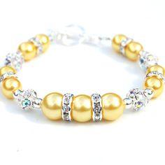 Bridesmaid Jewelry Yellow Pearl Rhinestone Bracelet by AMIdesigns, $24.00
