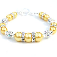 Bridesmaid Jewelry Yellow Pearl Rhinestone Bracelet by AMIdesigns, $24.00
