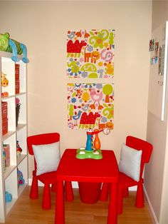 love the colors and the tablechairs for the kids in this room bonus room playroom office
