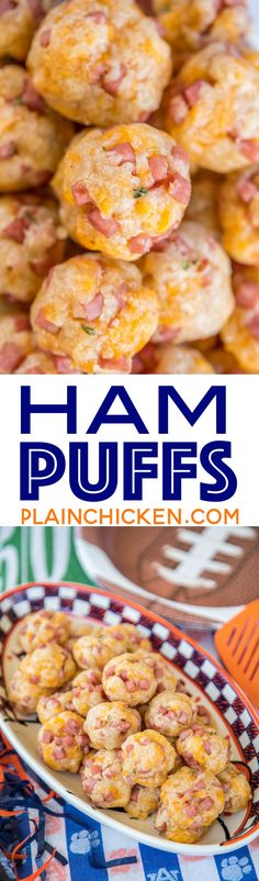 Ham and Cheese Puffs - CRAZY good! SO simple to make and they taste amazing! Only 5 ingredients - butter, cheddar cheese, ham, worcestershire and flour. These things fly off the plate at parties. You will want to double the recipe! A great alternative Quick Appetizers, Finger Food Appetizers, Appetizers For Party, Finger Foods, Appetizer Recipes, Snack Recipes, Party Snacks, Ham Recipes, Cooking Recipes