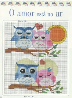 me wp-content uploads 2014 06 corujas-namorados. Cross Stitch Owl, Cross Stitch For Kids, Cross Stitch Animals, Cross Stitch Charts, Cross Stitch Designs, Cross Stitching, Cross Stitch Embroidery, Cross Stitch Patterns, Owl Patterns