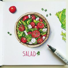 """Experiments with canson paper """"the wall"""") finally p . Copic Marker Drawings, Sketch Markers, Fruit Illustration, Food Illustrations, Recipe Drawing, Watercolor Food, Copic Art, Food Painting, Food Drawing"""