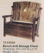 Star Bench with Storage Chest - Rustic Furniture Depot