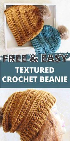 Crochet Adult Hat, Bonnet Crochet, Easy Crochet Hat, Crochet Slouchy Hat, Crochet Beanie Pattern, Crochet Scarves, Crochet Crafts, Knit Crochet, Free Crochet Hat Patterns
