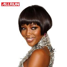 Allrun 100% Human Hair Wigs Peruvian Non Remy Straight Hair Machine Made Short Bob Wigs For Women Free Shipping Wig Hairstyles, Straight Hairstyles, 100 Human Hair Wigs, Short Bob Wigs, How To Make Shorts, Hair Type, Free Shipping, Lace, Model