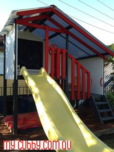 The yellow slide is a cool pop of colour for this cubby! #MyCubby #CubbyHouse #Cubbies #Cubby #OutdoorPlay #Kids #AussieKids #HappyKids #Backyard