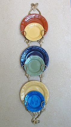 colorful plates on plate rack