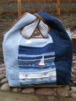 beach bag made from recycled denim jeans