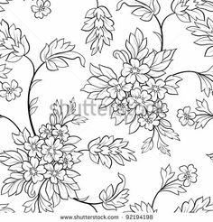 The black outline flower seamless - stock vector