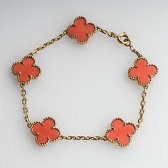 Van Cleef & Arpels Alhambra Coral Bracelet 18K Gold