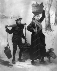 Dutch Girl & Boy With Wooden Shoes 8x10 Reprint Of Old Photo