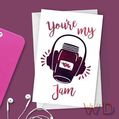 You're My Jam Valentine Watercolor Greeting Card / Headphones, Music, Hearts, Love