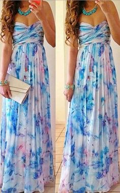 Printed long strapless dress