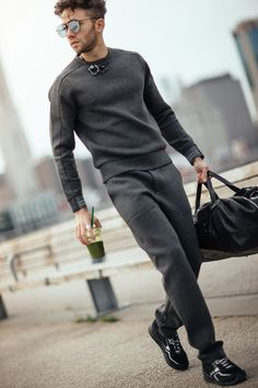 Talun Zeitoun in a Perry Ellis neoprene track suit