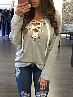 Trendy Lace-up Casual Hoodie Sweatshirt