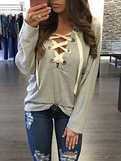 Trendy Lace-up Casual Hoodie Sweatshirt